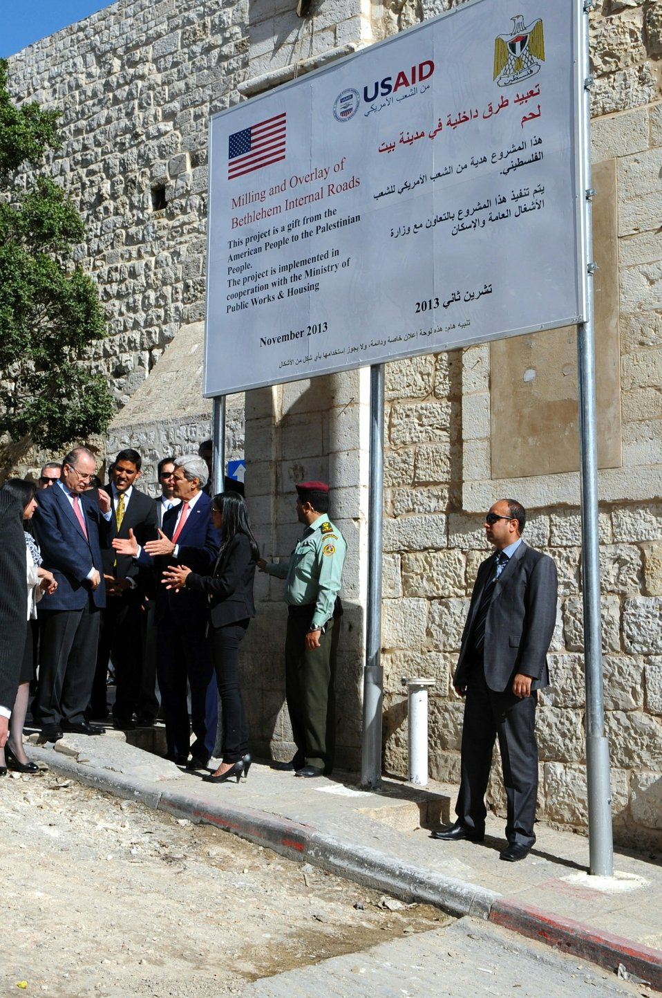 Secretary Kerry Views a USAID-sponsored Road Repair Project in the West Bank