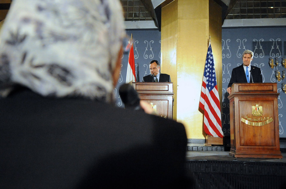 An Egyptian Journalist Questions Secretary Kerry in Cairo