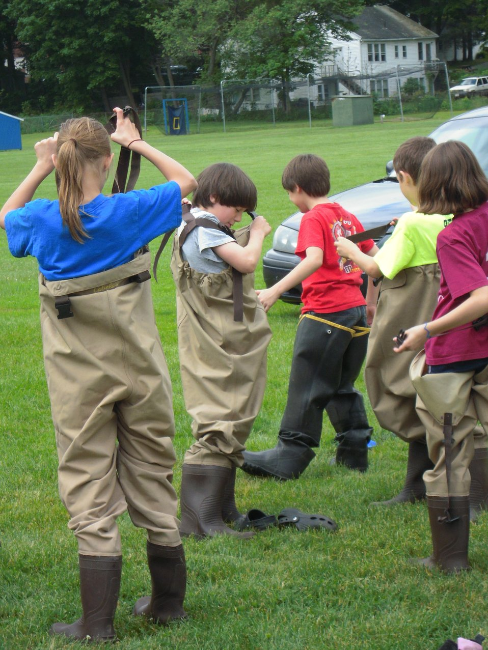 Kids in waders