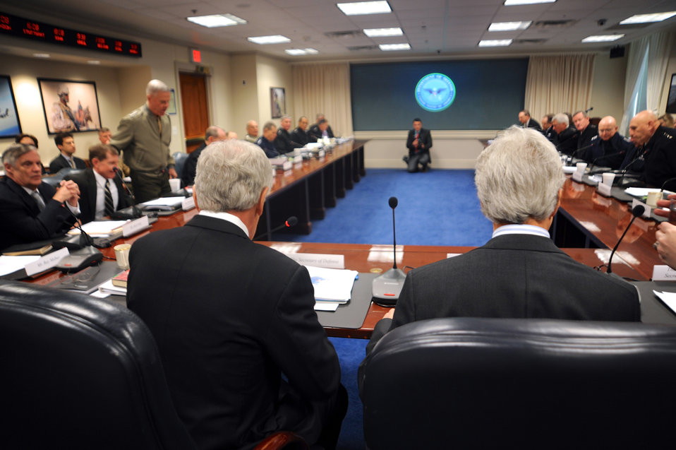 Secretary Kerry Joins Secretary Kerry at Briefing With Top Military Commanders