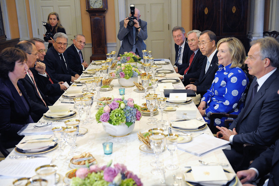 Secretary Clinton Hosts a Working Dinner With UN Secretary General Ban Ki-Moon, Russian Foreign Minister Lavrov, EU High Representative Ashton, and Quartet Representative Blair