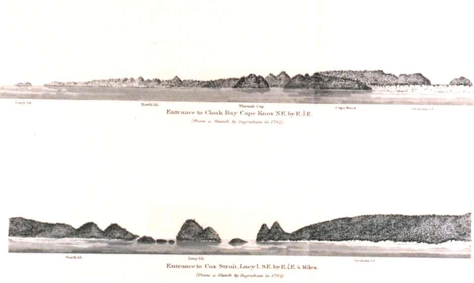 Entrance to Cloak Bay.  Entrance to Cox Strait.  In: Pacific Coast Pilot Alaska Part I 1883.  P. 50.  Library call number VK943 .N3 1883.
