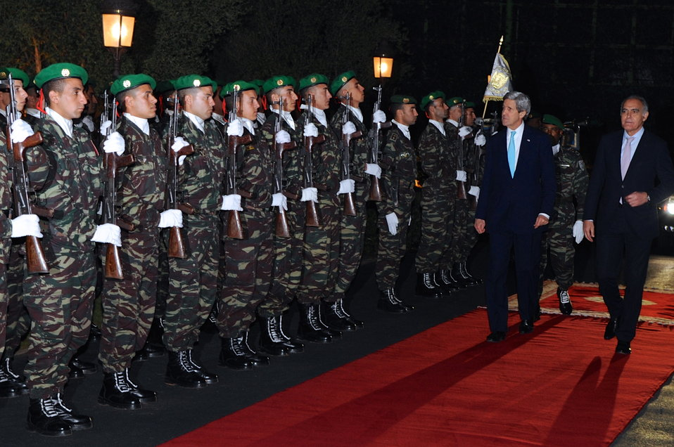 Secretary Kerry, Morrocan Foreign Minister Mezouar Pass Honor Guard Before Working Dinner