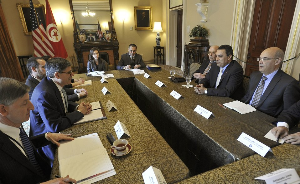 Secretary Lew meets with Tunisian Prime Minister