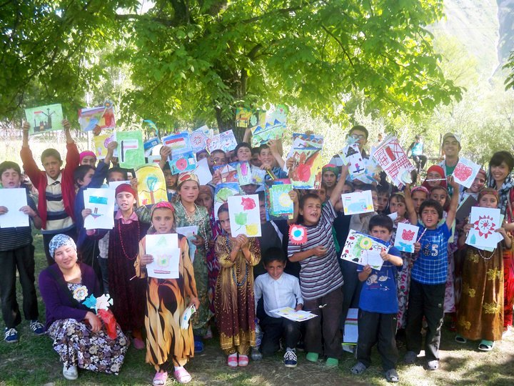 Tajik Youth Display Their Artwork
