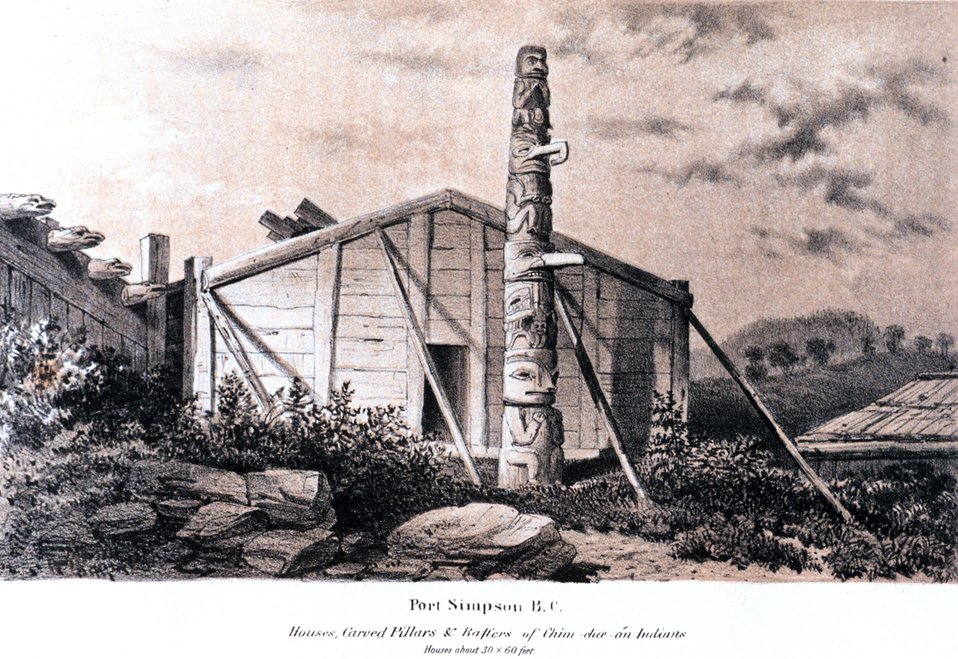 Native dwelling and totem pole at Port Simpson, British Columbia. In:  'Coast Pilot of Alaska, (First Part,) ....' by George Davidson, 1869.  P.18.  Library Call Number VK943 .N3 1st 1869.