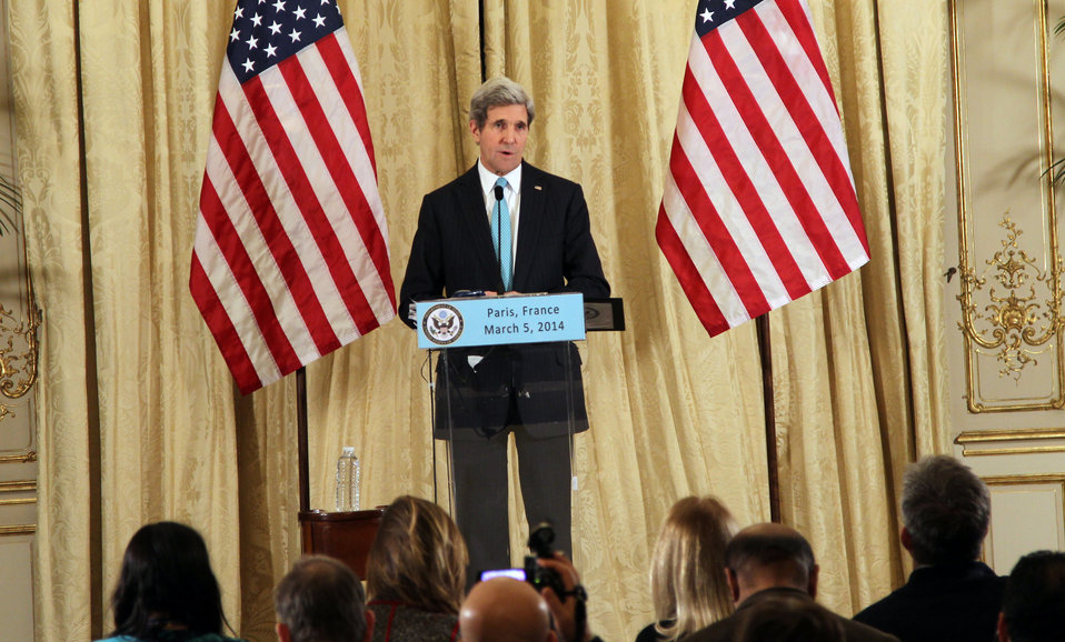 Secretary Kerry Addresses Reporters in Paris
