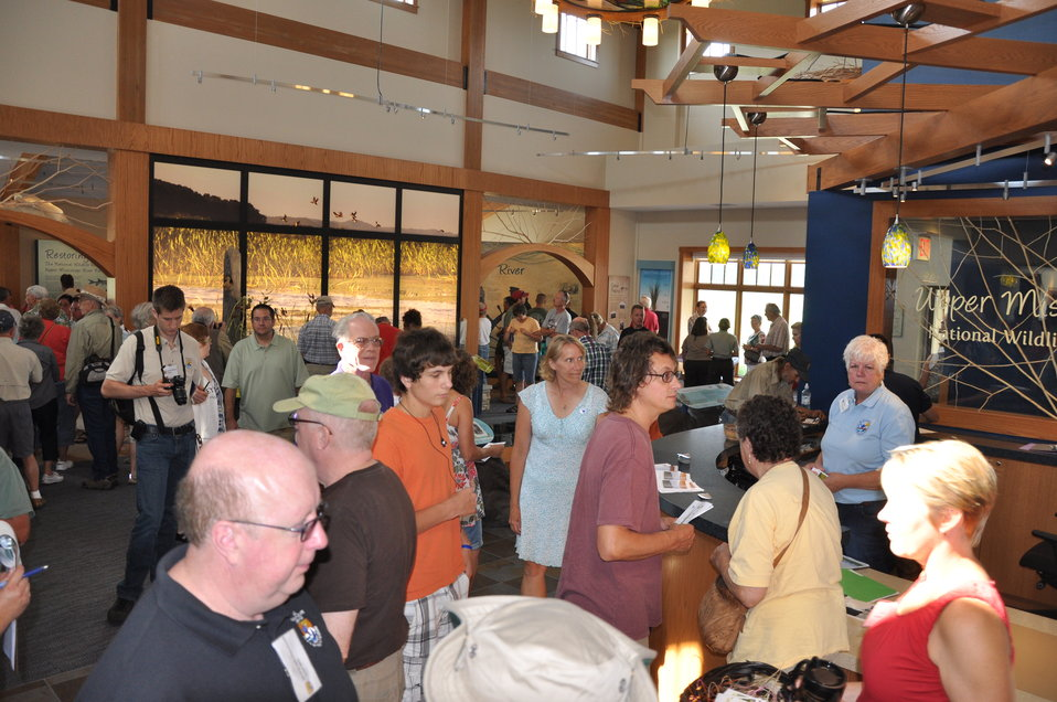 Crowd inside new visitor center