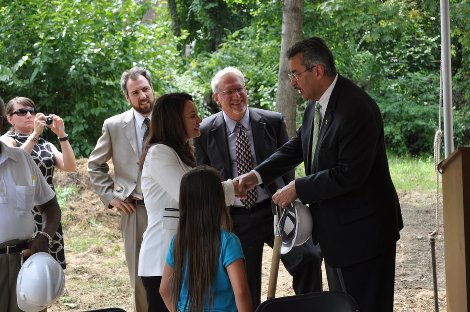Treasurer Rios at a groundbreaking on new Vida Senior Residence funded in part by the Recovery Act, 7/27/2010