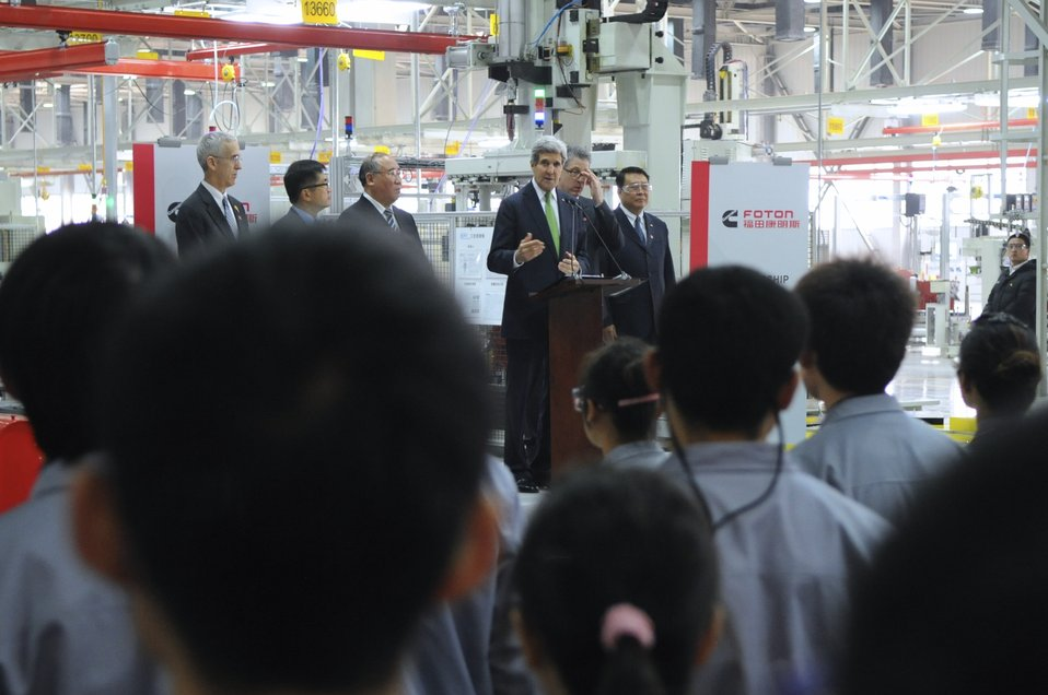 Secretary Kerry Addresses Workers at Chinese Clean-Engine Plant