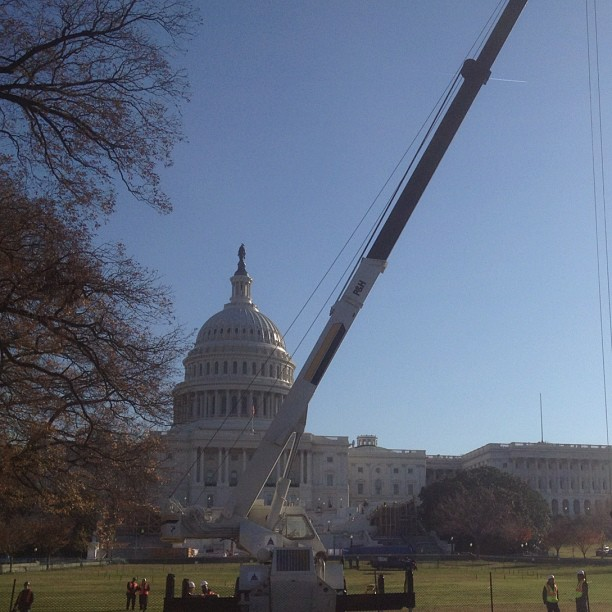 AOC crews in place for arrival of Capitol Christmas Tree.