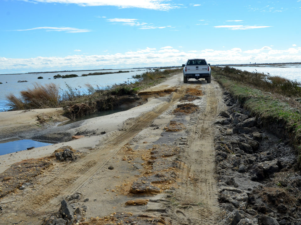 Effects of Hurricane Sandy at Edwin B. Forsythe National Wildlife Refuge. (NJ)