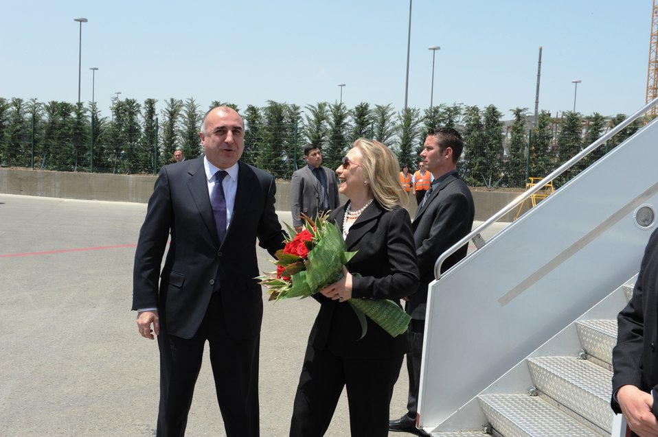 Secretary Clinton Is Greeted By Azerbaijani Foreign Minister Mammadyarov