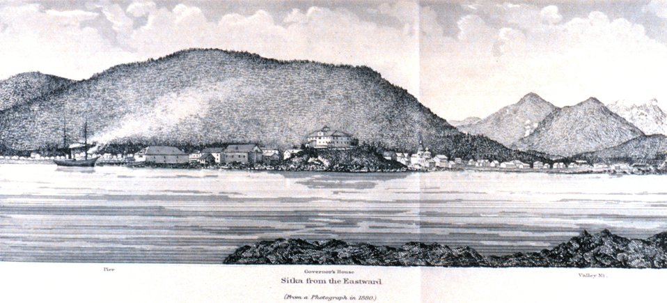 Sitka from the eastward.  In: Pacific Coast Pilot Alaska Part I 1883.  P. 136.  Library call number VK943 .N3 1883.