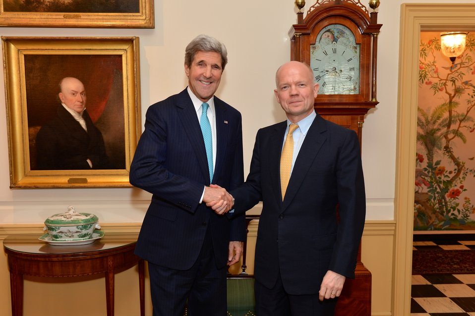 Secretary Kerry and U.K. Foreign Secretary Hague Pose for a Photo
