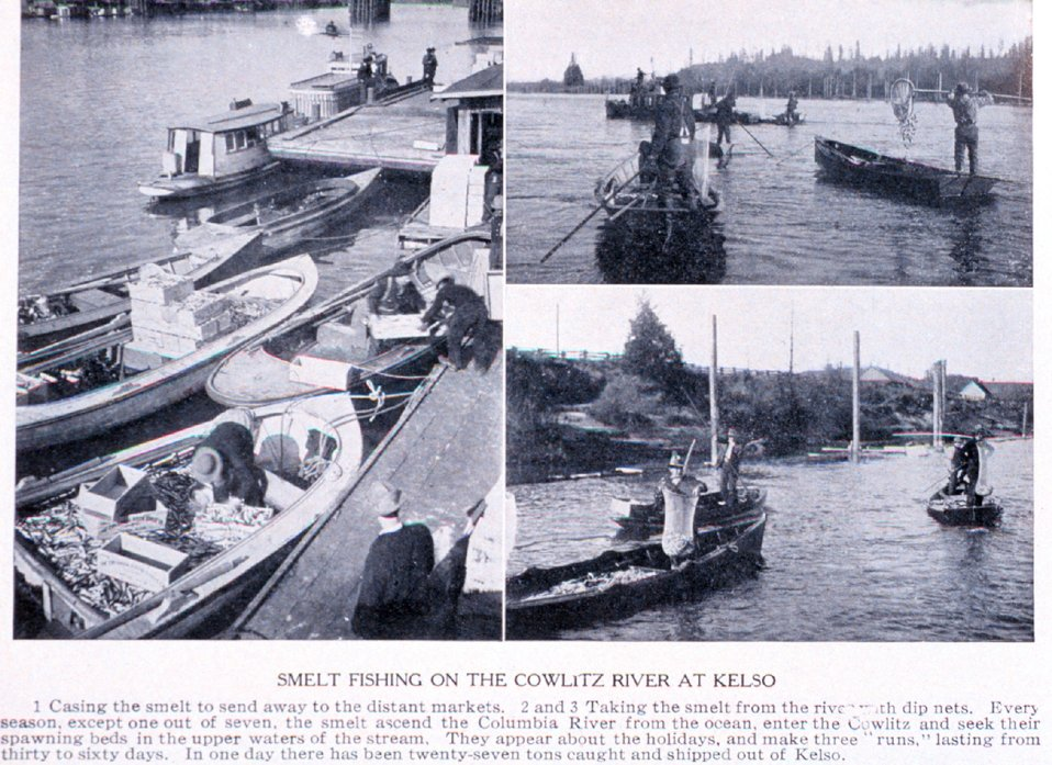 'Smelt Fishing on the Cowlitz River at Kelso'. In:  'Puget Sound and Western Washington  Cities-Towns Scenery', by Robert A. Reid, Robert A. Reid Publisher, Seattle, 1912.  P. 168.