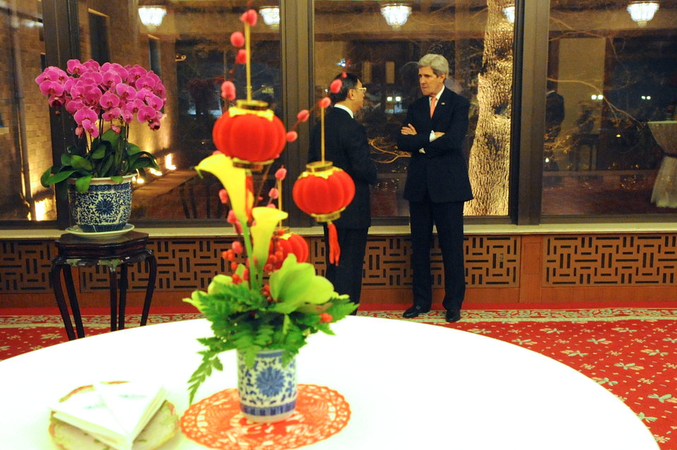 Secretary Kerry Chats With Chinese State Councilor Yang