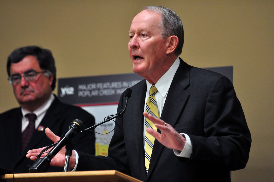 Mercury Cleanup Press Conference Y-12 Oak Ridge Speaking, U.S. Sen. Lamar Alexander (R-Tenn.), with Tennessee Department of Environment and Conservation Commissioner Robert Martineau