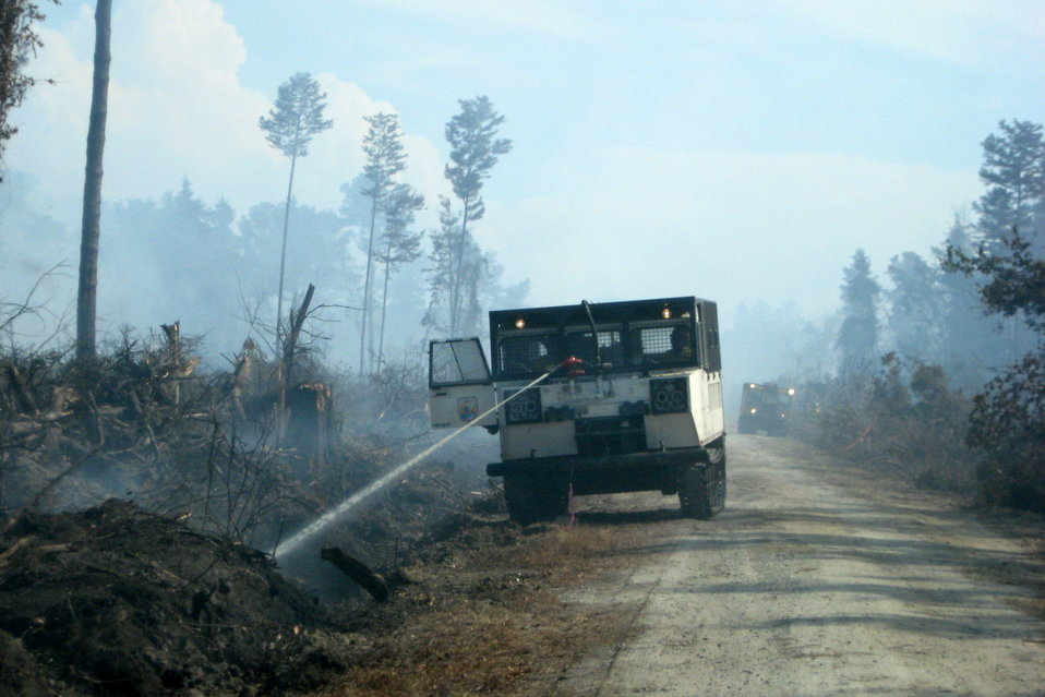 Swamp vehicle on Forest Line Road