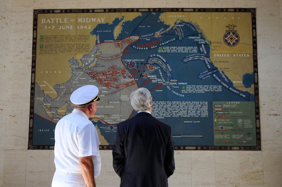 Secretary Kerry Examines a Battle Map at the Manila American Cemetery