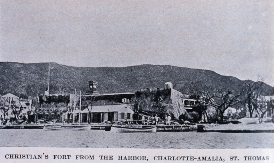 'Christian's Fort from the Harbor, Charlotte-Amalia, St. Thomas.'  In: 'The Virgin Islands Our New Possessions and the British Islands', by Theodoor De Booy and John T. Faris, 1918.  J. B. Lippincott and Company, Philadelphia.  P. 31.  Library Call