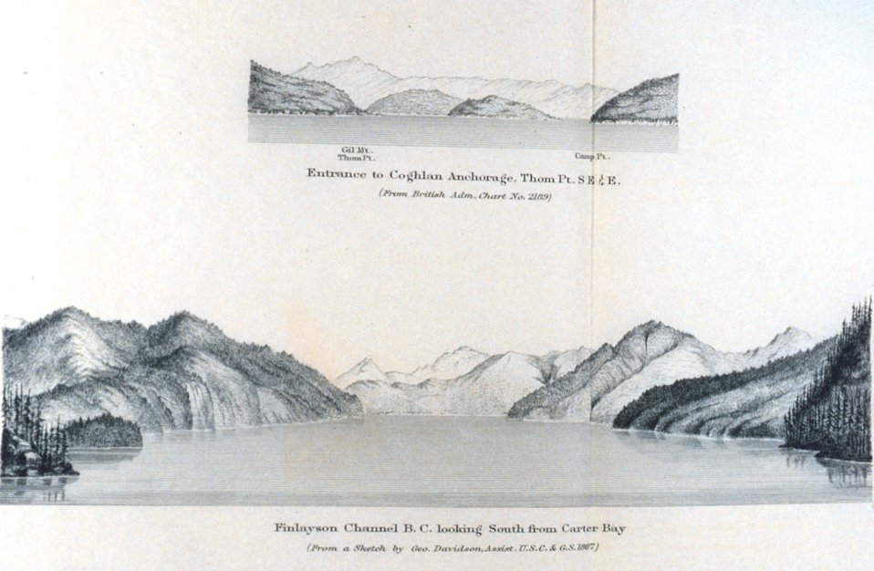 Entrance to Coghlan Anchorage.  Finlayson Channel B. C. looking south from Carter Bay.  In: Pacific Coast Pilot Alaska Part I 1883.  P. 28.  Library call number VK943 .N3 1883.