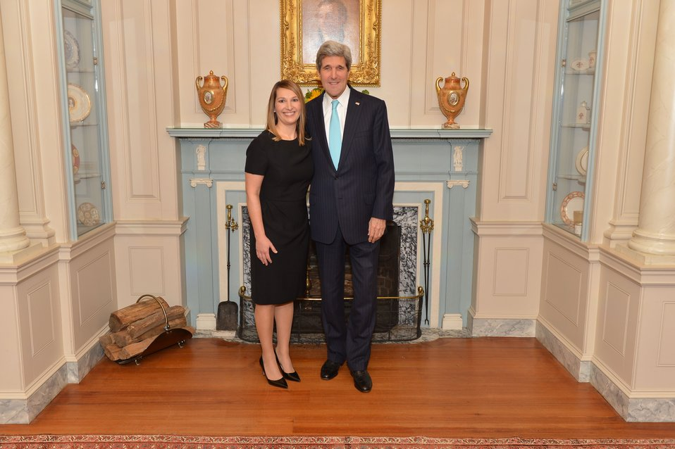 Secretary Kerry Poses for a Photo with Deputy Secretary Higginbottom