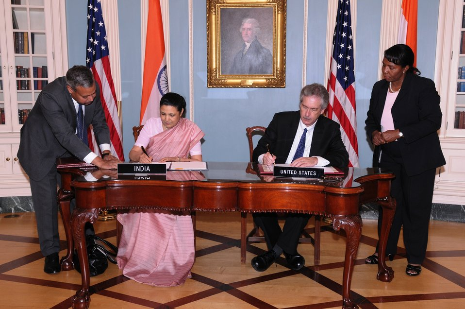 Under Secretary Burns and Indian Ambassador to the U.S. H.E. Meera Shankar Sign the U.S.-India Agreement for Nuclear Cooperation Conclusion of Reprocessing Arrangements and Procedures