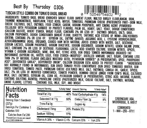 RECALLED – 'Fresh To Go Tuscan Style Combo on Tomato Basil Bread' sandwich