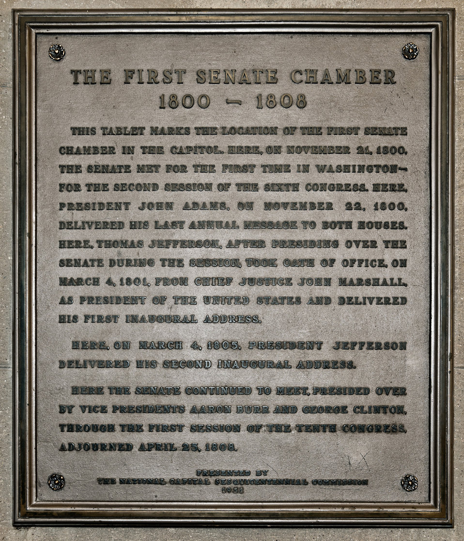 First Senate Chamber in the Capitol Plaque