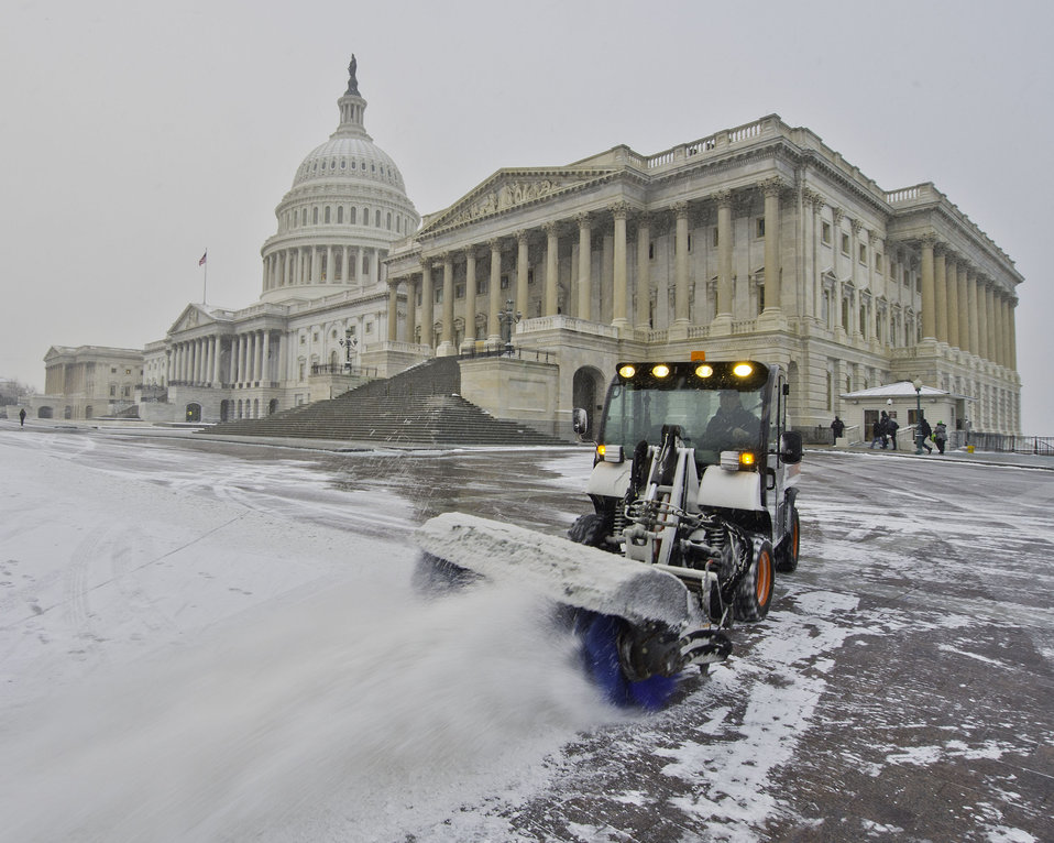 AOC clear Snow from East Front of U.S. Capitol