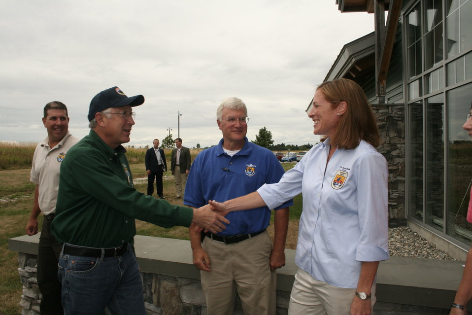Acting Northeast Regional Director Wendi Weber welcomes Secretary Salazar to Mississquoi NWR
