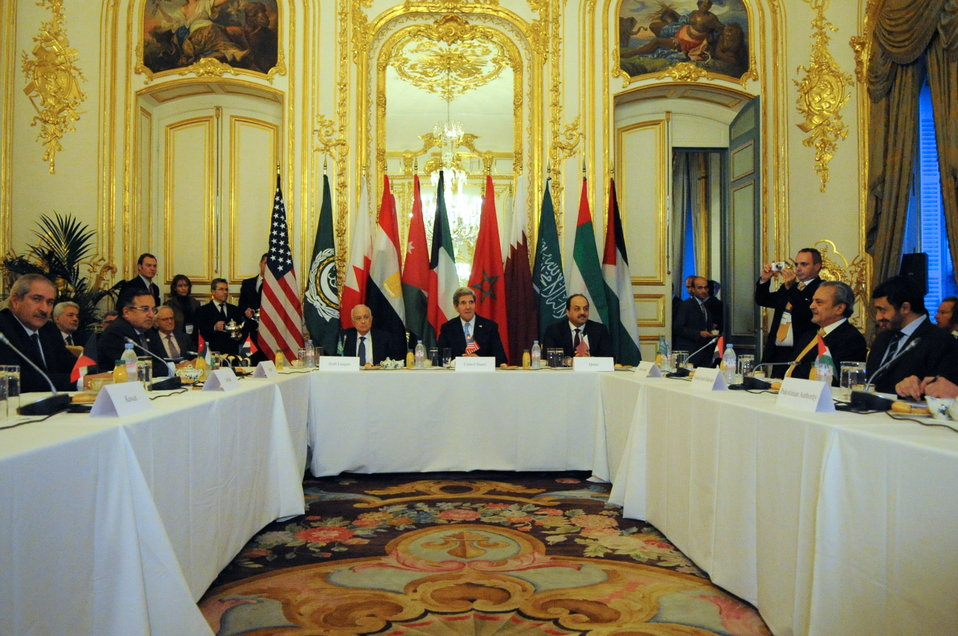 Arab Peace Initiative Members Meet With Secretary Kerry in France