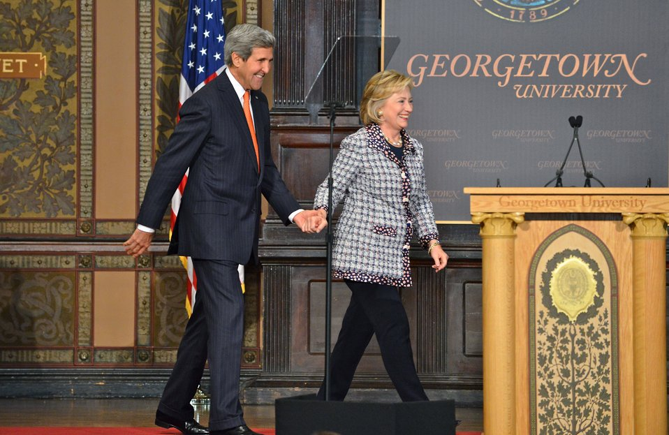 Secretary Kerry and Former Secretary Clinton Share the Stage