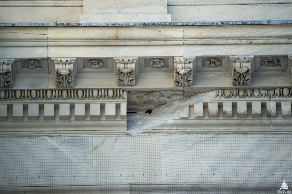 Cracked Stone on Capitol Building
