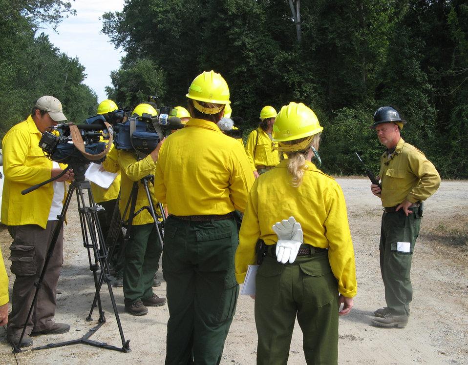 Firefighter talks to media
