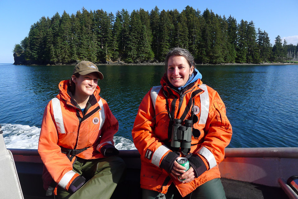 Volunteer avian biologists on the m/v Ursa Major II