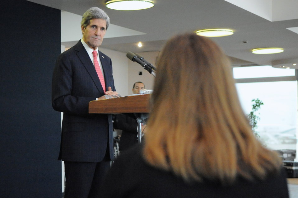 Secretary Kerry Listens to a Question During Tel Aviv News Conference