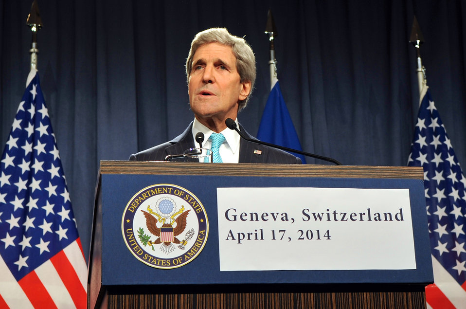 Secretary Kerry Speaks at News Conference Following Ukraine Meeting in Geneva