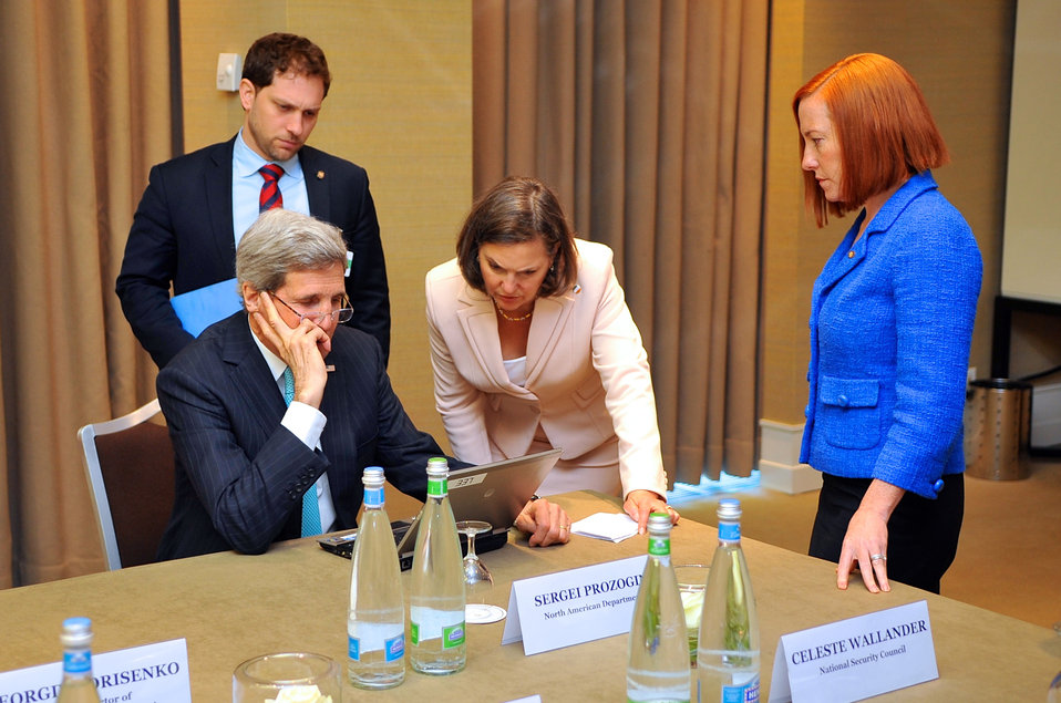 Secretary Kerry Reviews Draft Statement Amid Ukraine Talks in Geneva