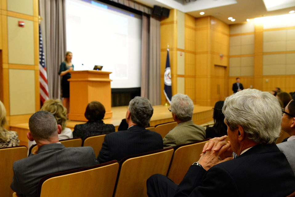 Secretary Kerry Watches His Daughter, Dr. Vanessa Kerry, Deliver Remarks on Health Diplomacy