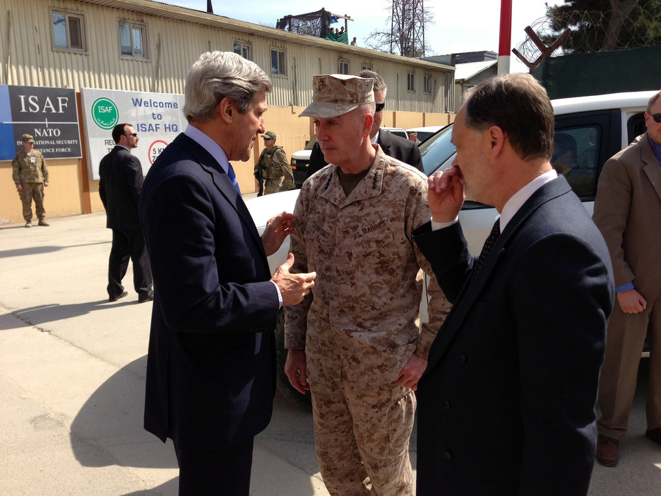 Secretary Kerry With U.S. Marine Corps General Dunford in Afghanistan