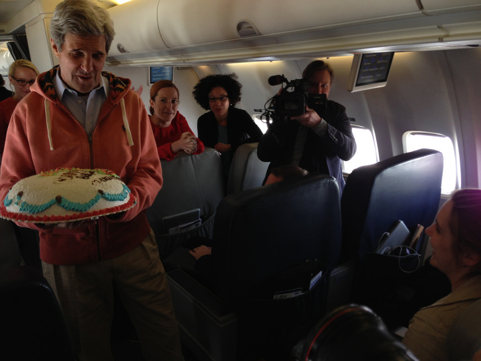 Secretary Kerry Helps Celebrate the Birthday of CBS News Correspondent Brennan