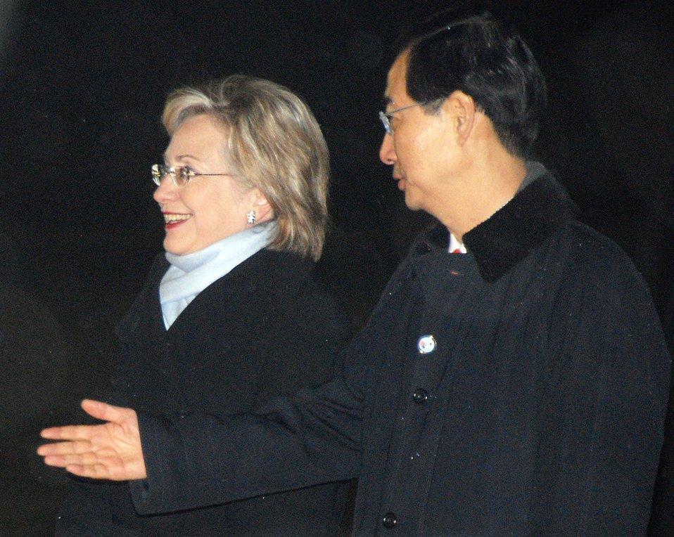 Secretary Clinton Arrives in South Korea