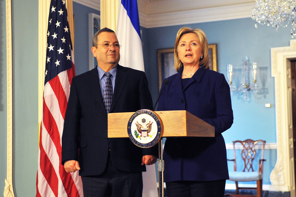Secretary Clinton With Defense Minister Barak of Israel