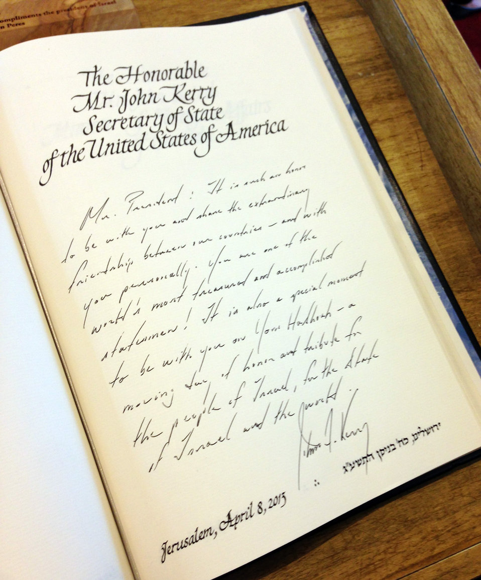 Secretary Kerry's Inscription in Guest Book of Israeli President Peres