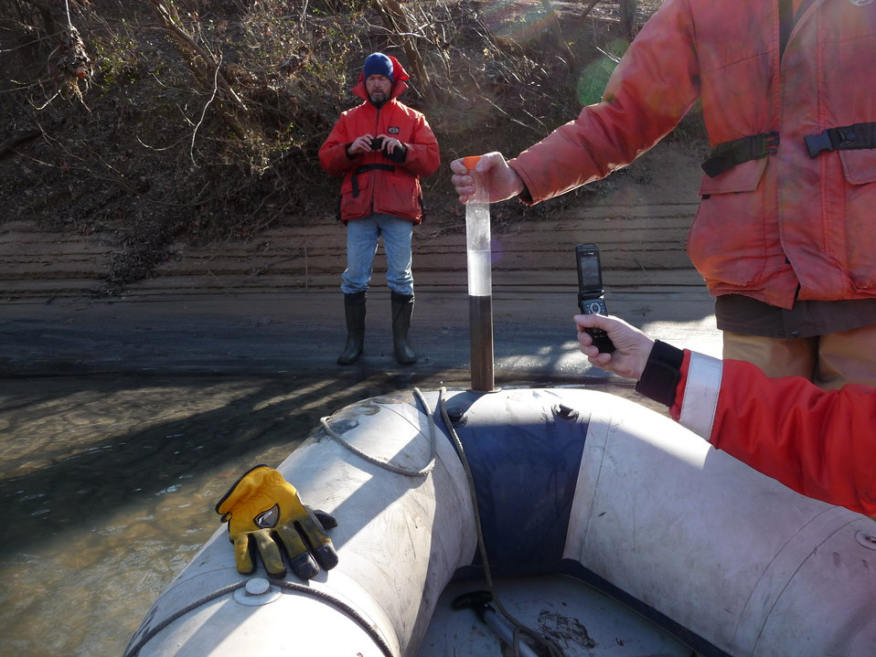 Sampling at coal ash spill on the Dan River