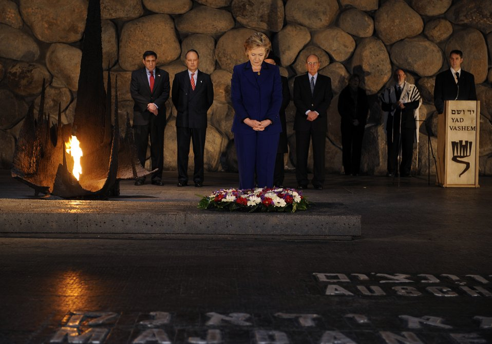 Secretary Clinton Lays a Wreath in the Hall of Remembrance