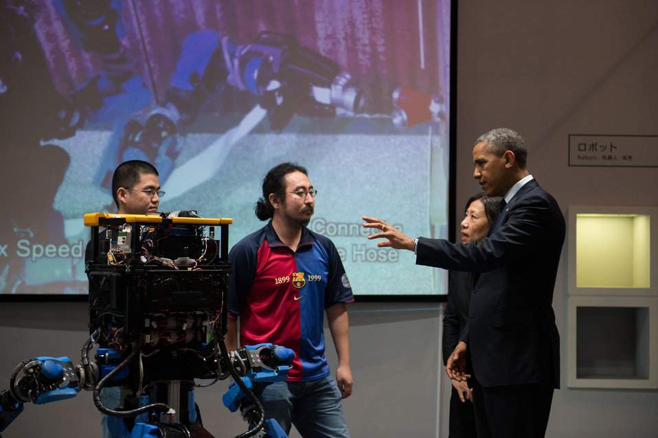 President Obama Talks to Designers of the SCHAFT Robot