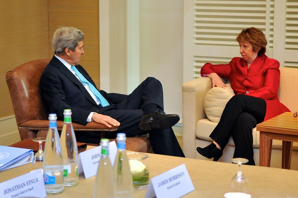 Secretary Kerry Chats With EU High Representative Ashton Before Ukraine Talks in Geneva